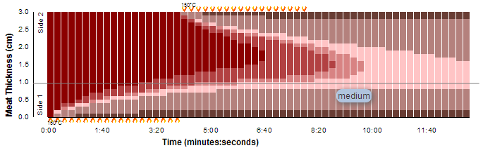 Heat diffusion through meat over time for 4-minutes-per-side cooking